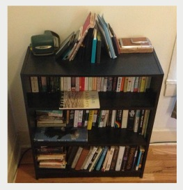 This is my same bookcase in a former life of darkness and un-color organization