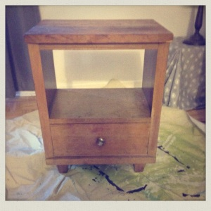 I got dibbs on this here (abused) mid-century nightstand